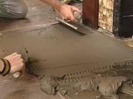 Installation of granite hearth